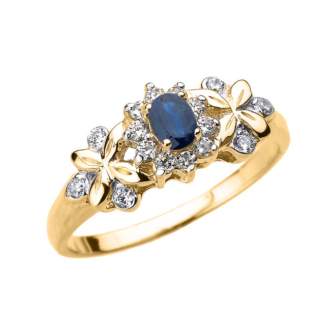 Yellow Gold Oval Sapphire and Diamond Engagement Ring