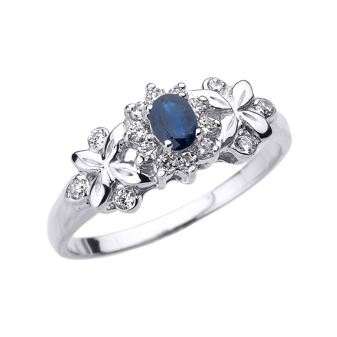 White Gold Oval Sapphire and Diamond Engagement Ring