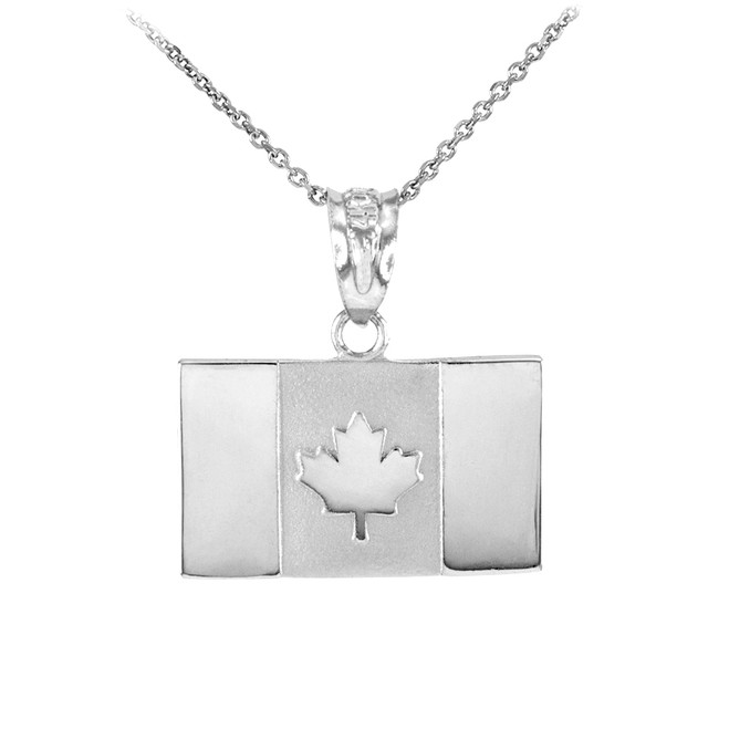 Solid 925 Sterling Silver Canada Flag Pendant Necklace