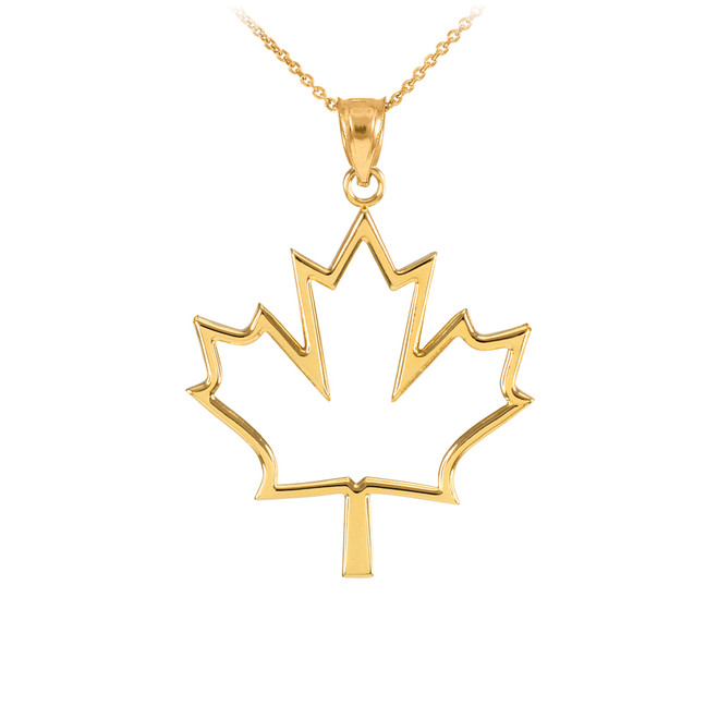Yellow Gold Open Design Maple Leaf Pendant Necklace