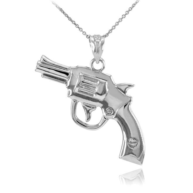 Solid Sterling Silver Revolver Gun Pendant Necklace