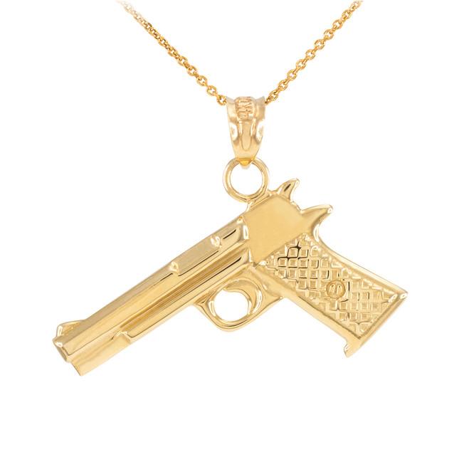 Solid Gold Desert Eagle Pistol Gun Pendant Necklace