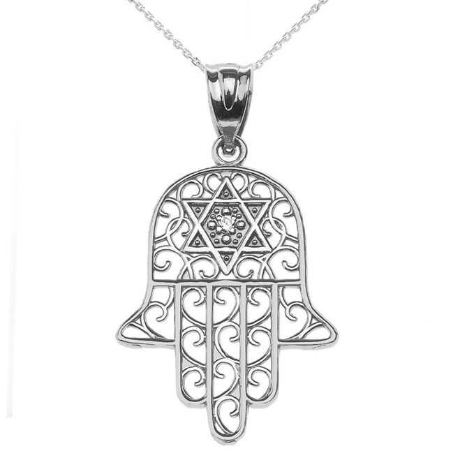 925 Sterling Silver Hamsa Hand With Star of David Pendant Necklace