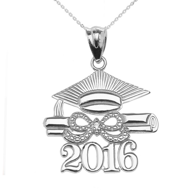 White Gold Class of 2016 Graduation Cap Pendant Necklace with Diamond