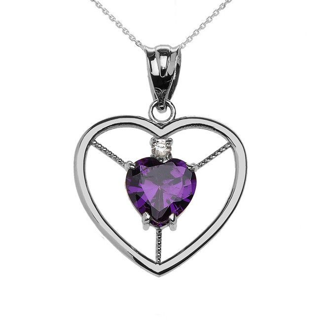 Elegant Sterling Silver Diamond and February Birthstone Purple Heart Solitaire Pendant Necklace