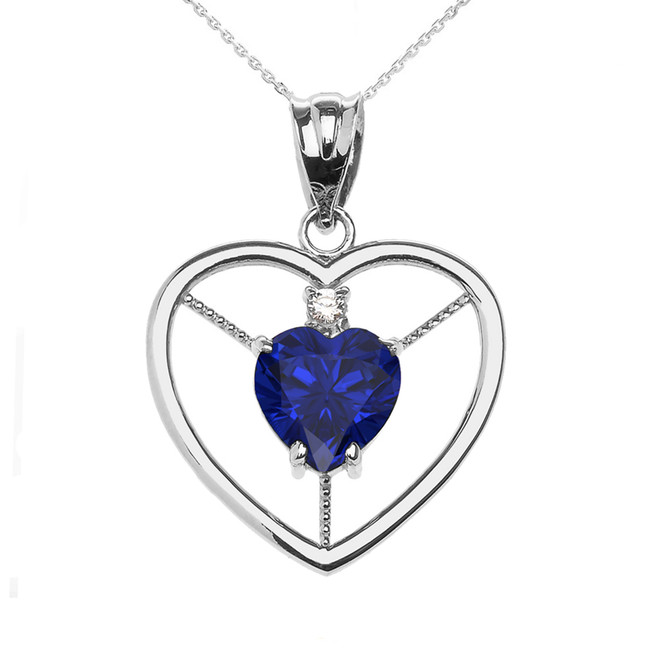 Elegant White Gold Diamond and September Birthstone Blue CZ Heart Solitaire Pendant Necklace