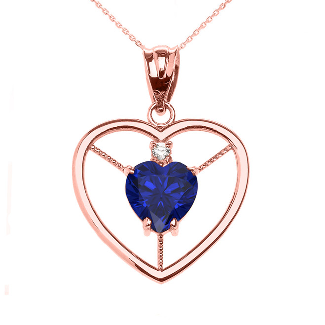 Elegant Rose Gold Diamond and September Birthstone Blue CZ Heart Solitaire Pendant Necklace