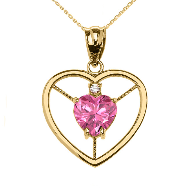 Elegant Yellow Gold Diamond and October Birthstone Pink CZ Heart Solitaire Pendant Necklace