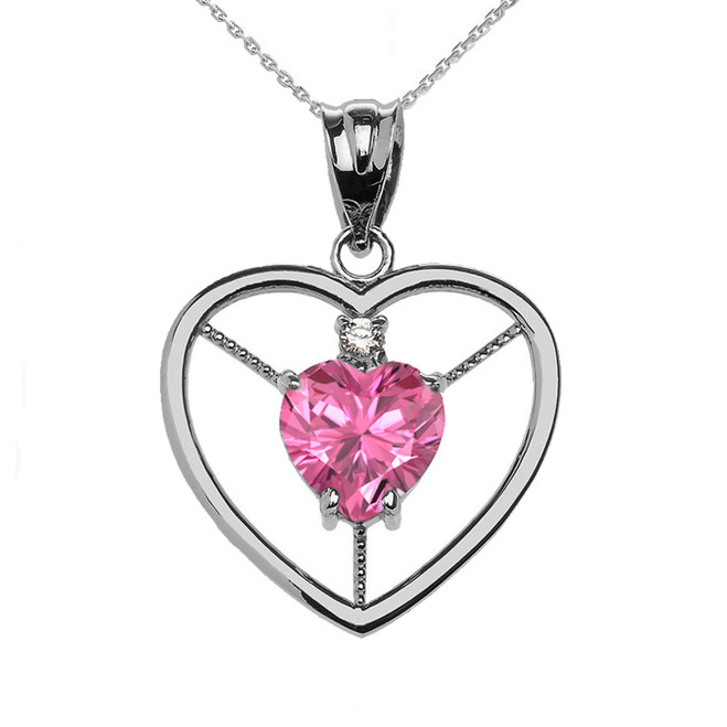 Elegant Sterling Silver Diamond and October Birthstone Pink CZ Heart Solitaire Pendant Necklace