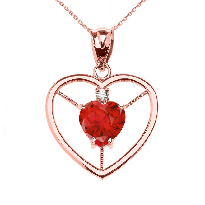 Elegant Rose Gold Diamond and July Birthstone Red CZ Heart Solitaire Pendant Necklace