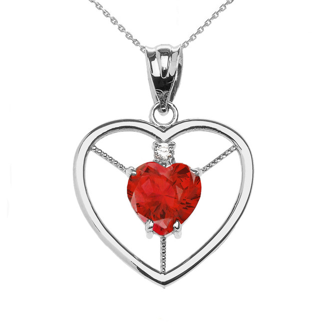 Elegant White Gold Diamond and July Birthstone Red CZ Heart Solitaire Pendant Necklace