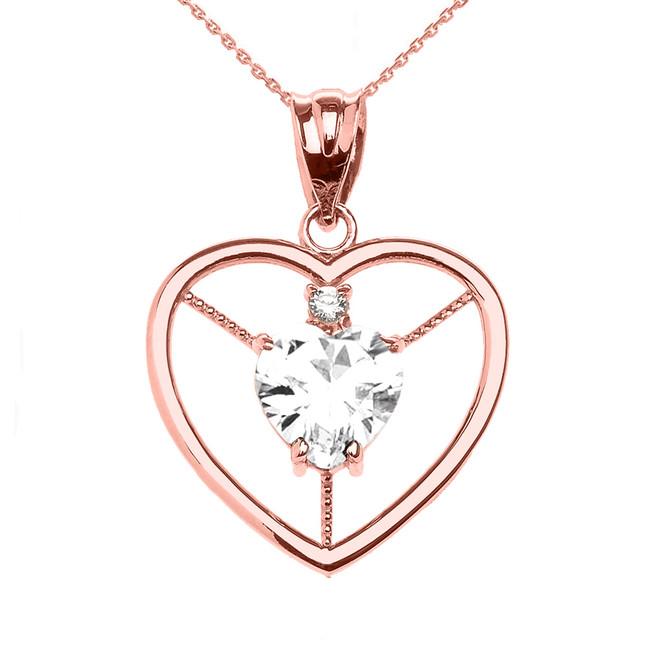 Elegant Rose Gold Diamond and April Birthstone White CZ Heart Solitaire Pendant Necklace