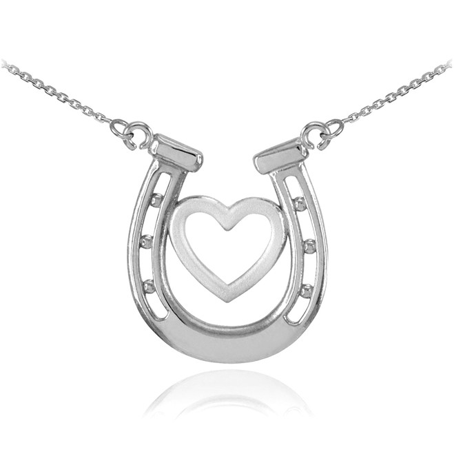 925 Sterling Silver Lucky Charm Horseshoe with Heart Necklace