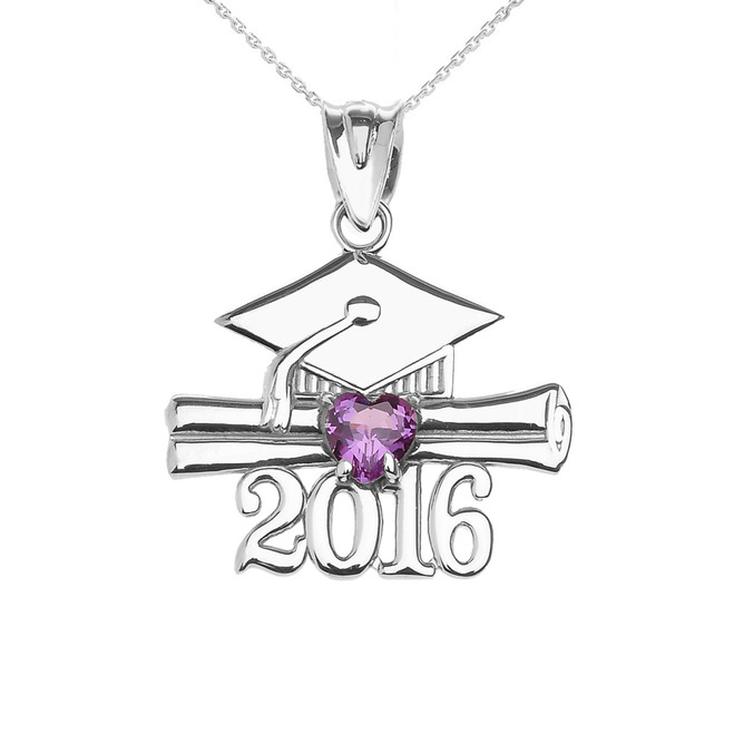 White Gold Heart February Birthstone Purple Cz Class of 2016 Graduation Pendant Necklace
