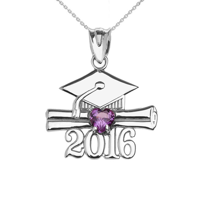 Sterling Silver Heart February Birthstone Purple Cz Class of 2016 Graduation Pendant Necklace