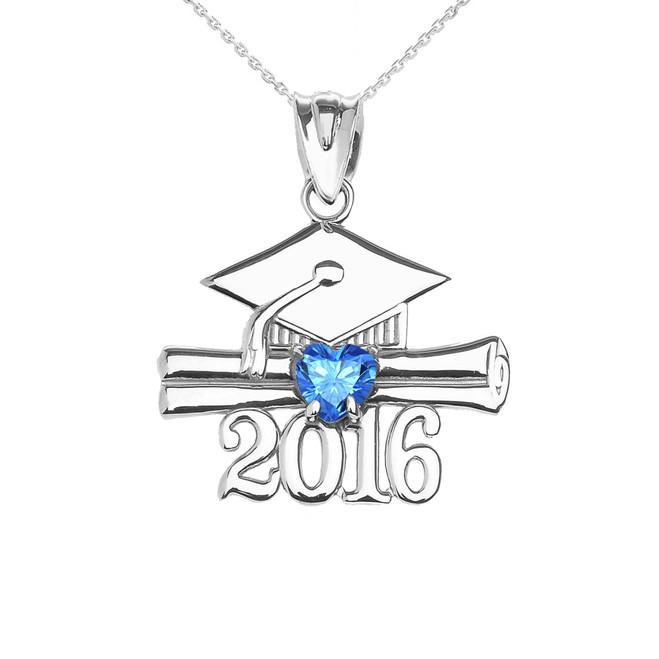 White Gold Heart December Birthstone Light Blue CZ Class of 2016 Graduation Pendant Necklace