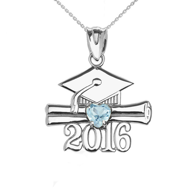 Sterling Silver Heart March Birthstone Aqua Cz Class of 2016 Graduation Pendant Necklace