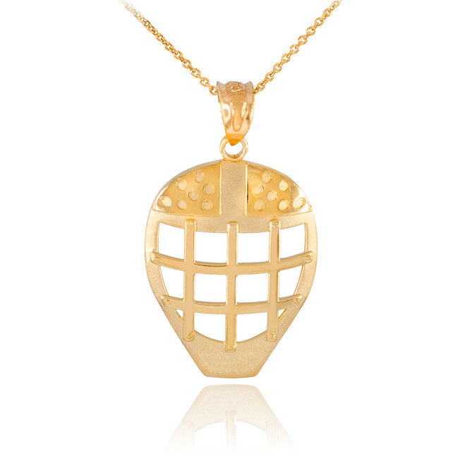 Gold Hockey Goalie Mask Sports Pendant Necklace