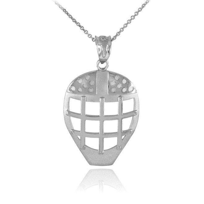 Silver Hockey Goalie Mask Sports Pendant Necklace