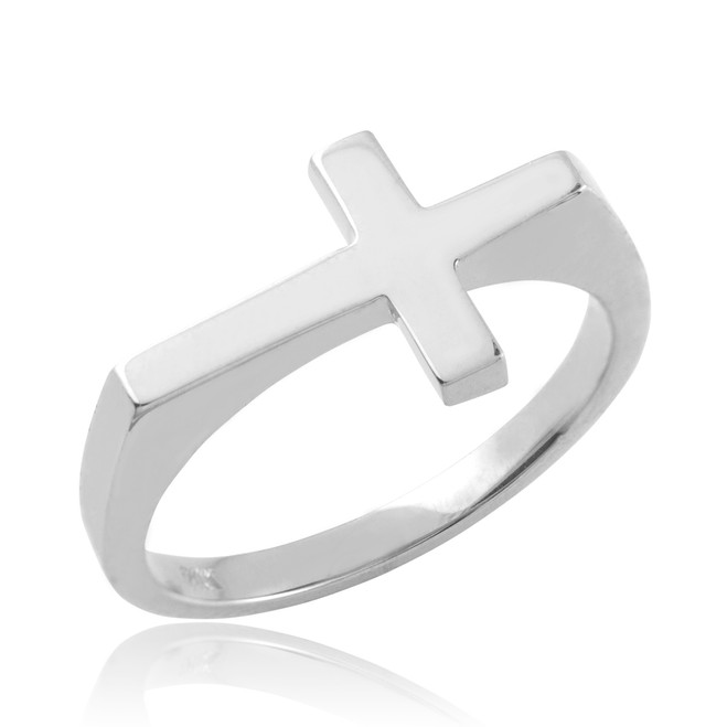 Polished White Gold Flat Top Sideways Cross Ring