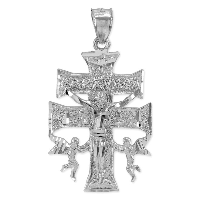Silver Caravaca Double Cross with Angels Crucifix Pendant