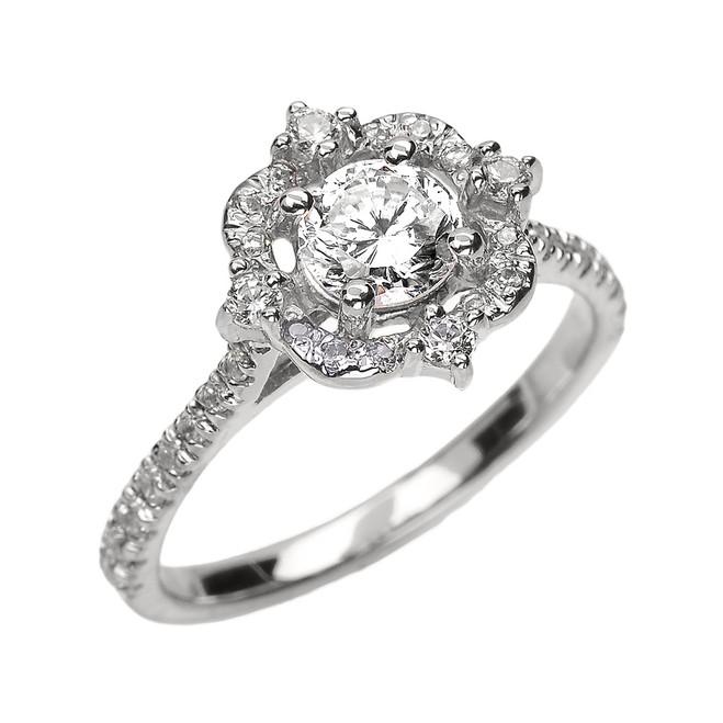 White Gold 0.75 TCW Diamond Dainty Engagement Proposal Ring