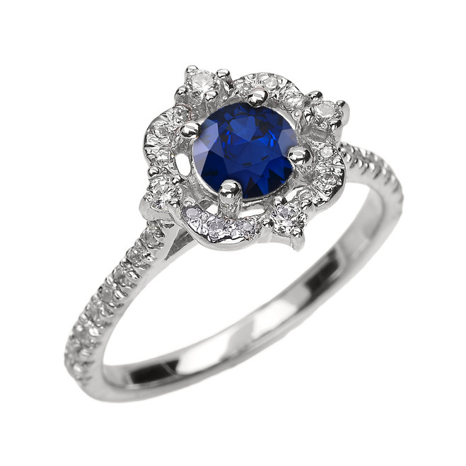 White Gold Genuine Sapphire And Diamond Dainty Engagement Proposal Ring