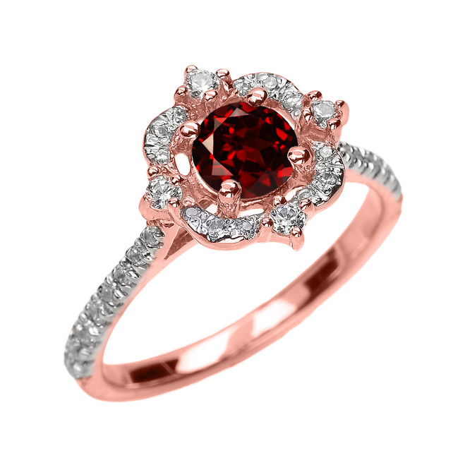 Rose Gold Genuine Garnet And Diamond Dainty Engagement Proposal Ring
