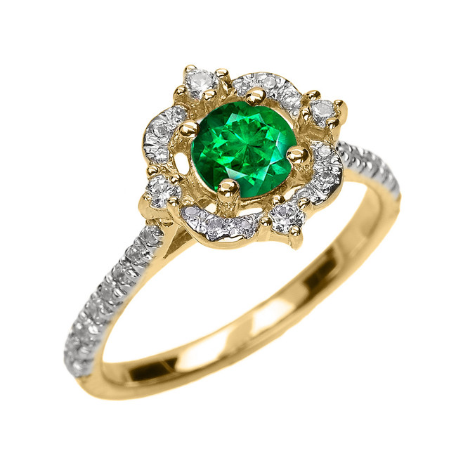 Yellow Gold May Birthstone Green CZ And Diamond Dainty Engagement Proposal Ring