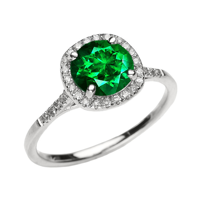 White Gold Halo Diamond and Green CZ Dainty Engagement Proposal Ring