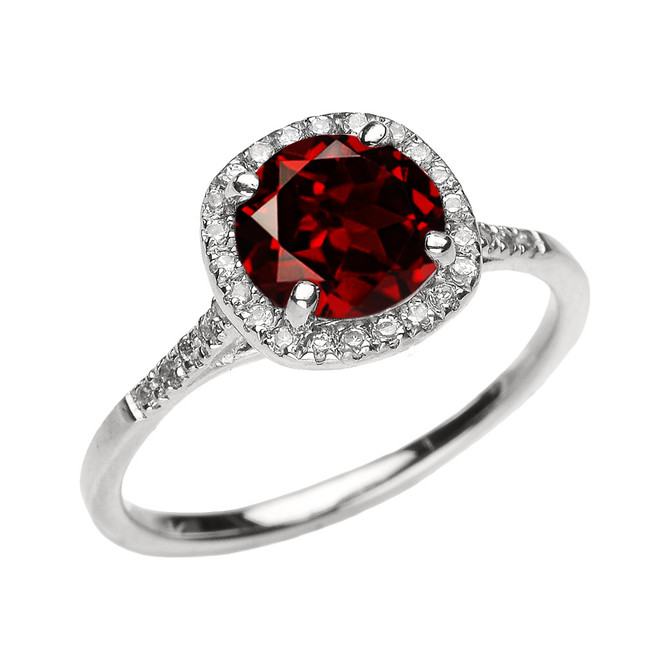 White Gold Halo Diamond and Genuine Garnet Dainty Engagement Proposal Ring