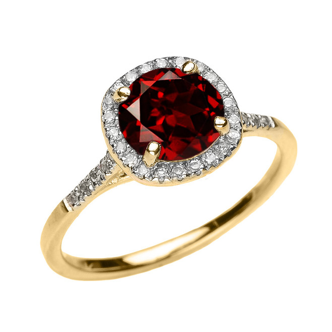 Yellow Gold Halo Diamond and Genuine Garnet Dainty Engagement Proposal Ring