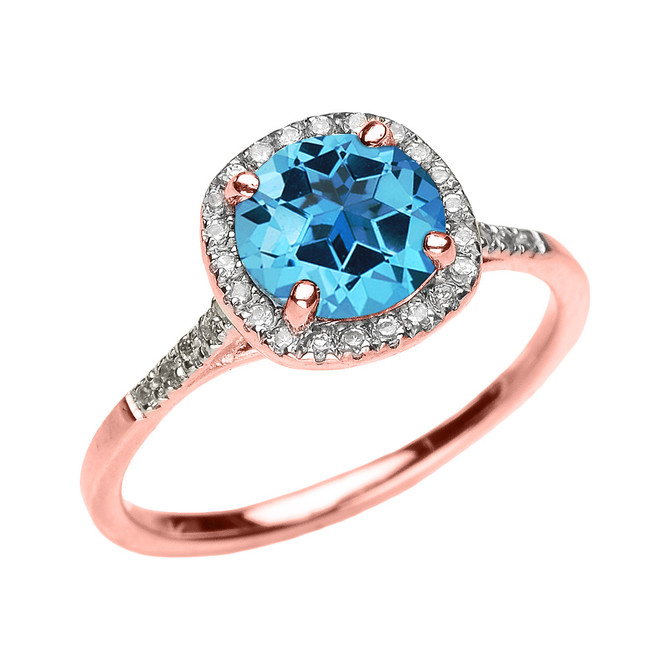 Rose Gold Halo Diamond and Genuine Blue Topaz Dainty Engagement Proposal Ring