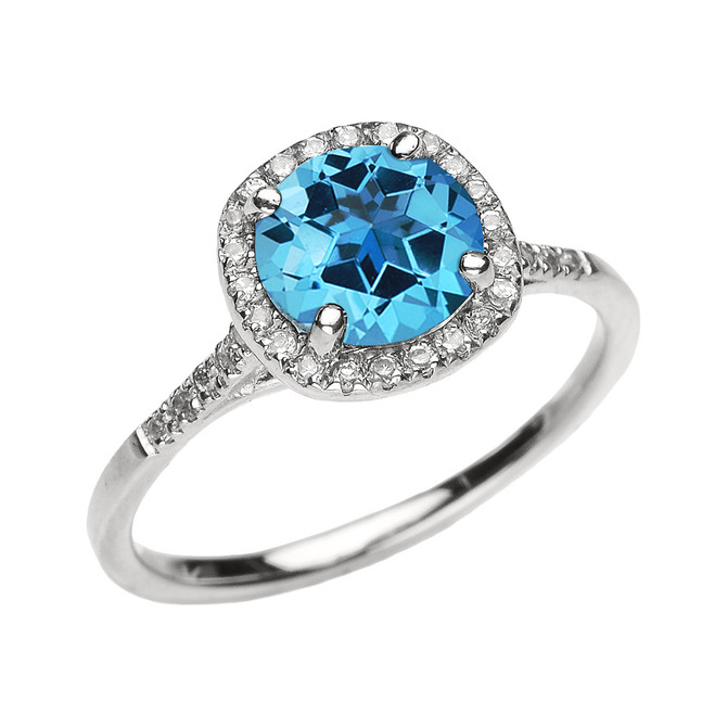 White Gold Halo Diamond and Genuine Blue Topaz Dainty Engagement Proposal Ring