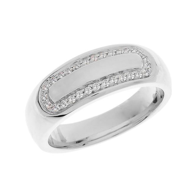 White Gold Diamond Accented Men's Wedding Band
