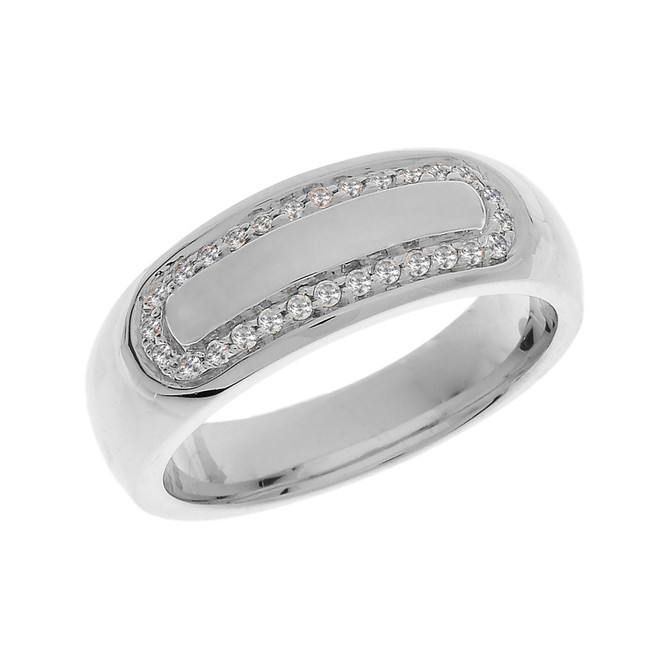Sterling Silver Diamond Accented Men's Wedding Band