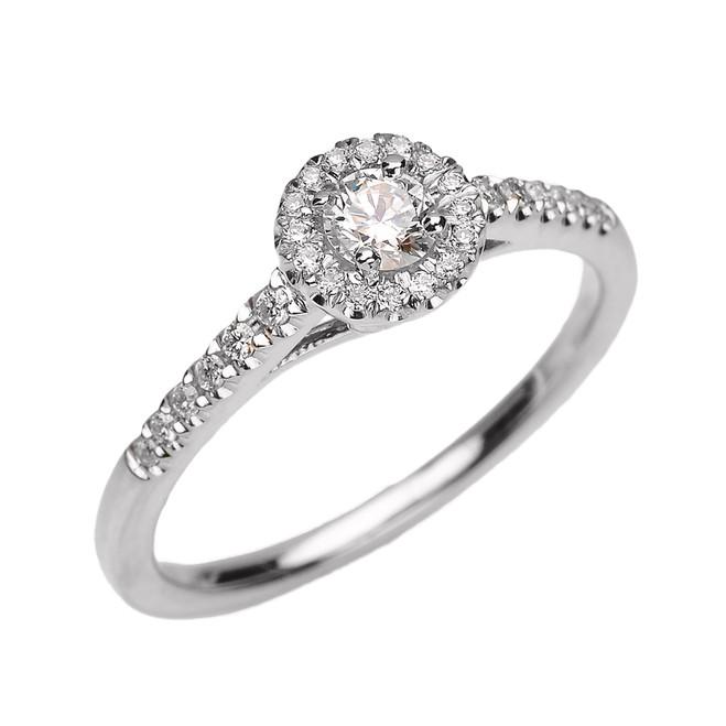 White Gold Diamond Dainty Engagement Proposal Ring