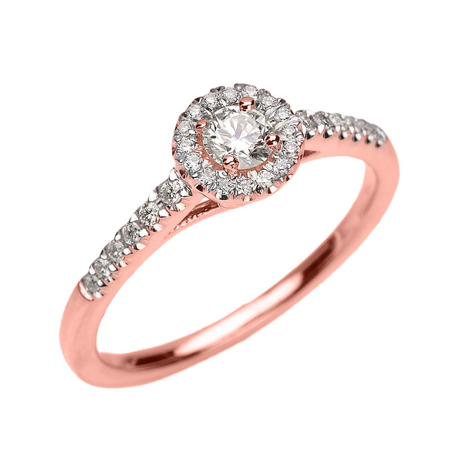 Rose Gold Diamond Dainty Engagement Proposal Ring