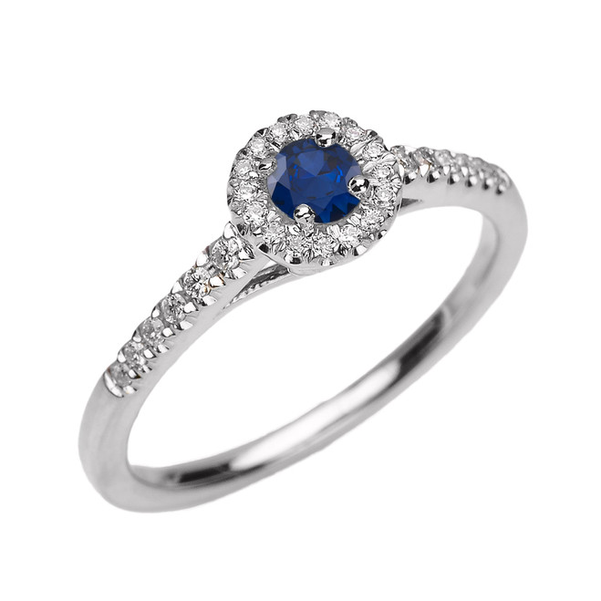 White Gold Diamond and Sapphire Dainty Engagement Proposal Ring