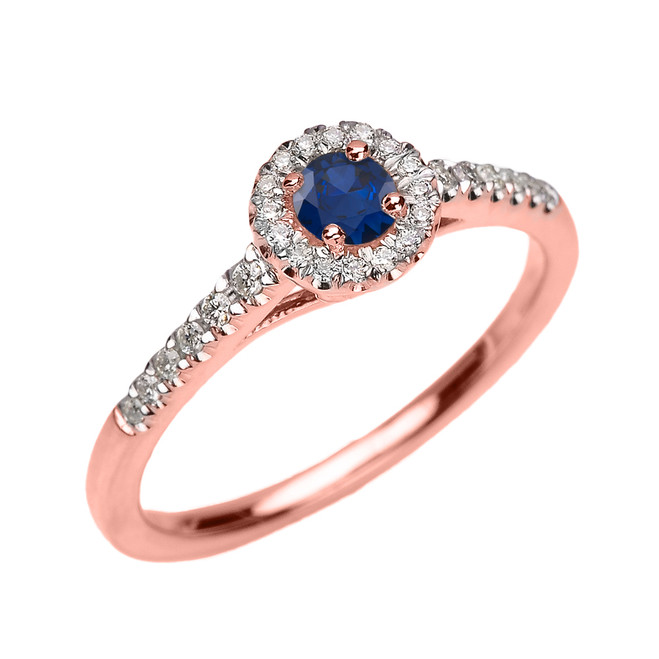 Rose Gold Diamond and Sapphire Dainty Engagement Proposal Ring