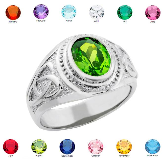 White Gold Celtic Birthstone CZ Men's Ring