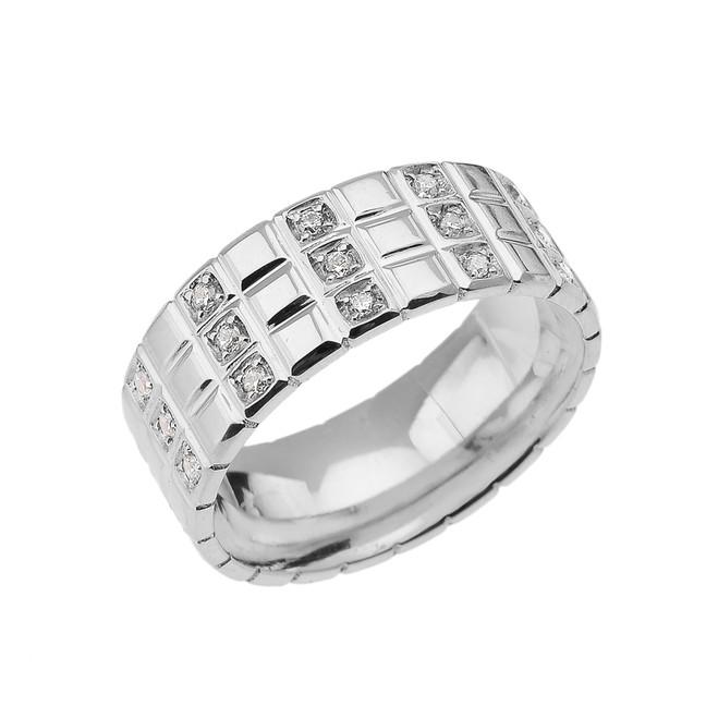 White Gold Diamond Checkerboard Men's Wedding Band Ring