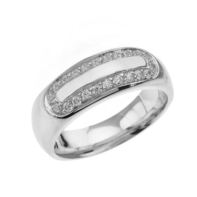 Sterling Silver Diamond Accented Men's Comfort Fit Wedding Band Ring