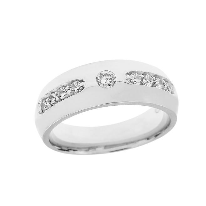 White Gold Diamond comfort Fit Men's Wedding Band Ring