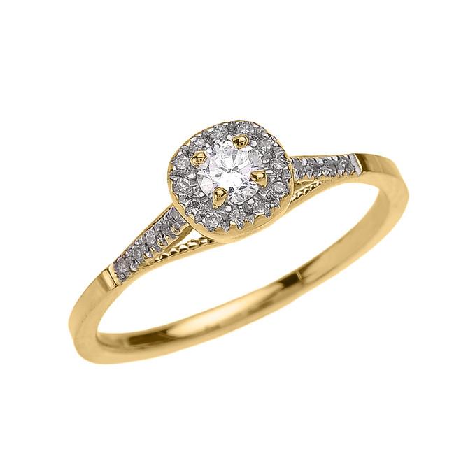 Yellow Gold Cushion Shape Halo Diamond Engagement Milgrain Design Ring