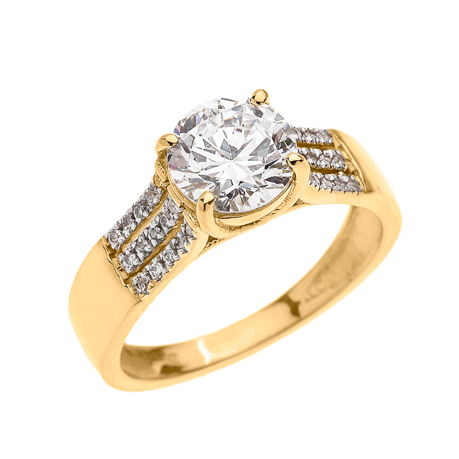 Yellow Gold Three Row Micro Pave Diamond Set Engagement Ring with Center-stone CZ (Cubic Zirconia)