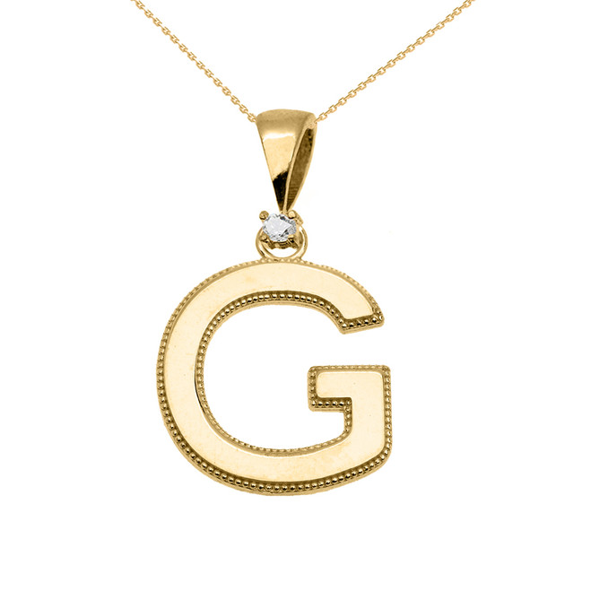 "Yellow Gold High Polish Milgrain Solitaire Diamond ""G"" Initial Pendant Necklace"