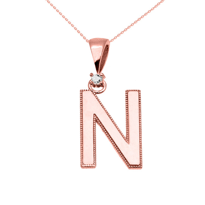"Rose Gold High Polish Milgrain Solitaire Diamond ""N"" Initial Pendant Necklace"