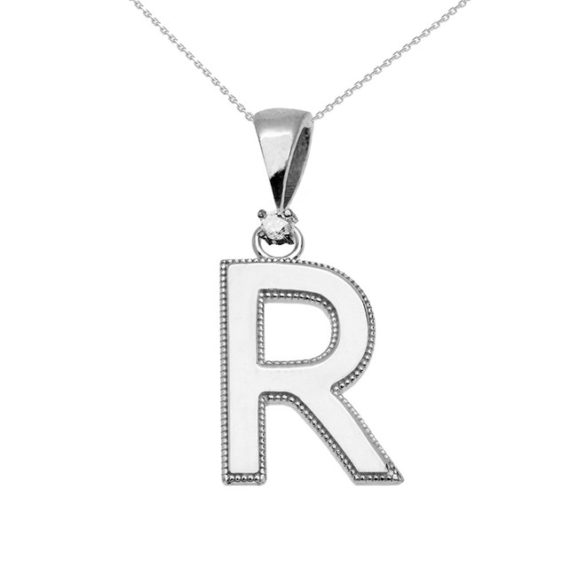 "White Gold High Polish Milgrain Solitaire Diamond ""R"" Initial Pendant Necklace"