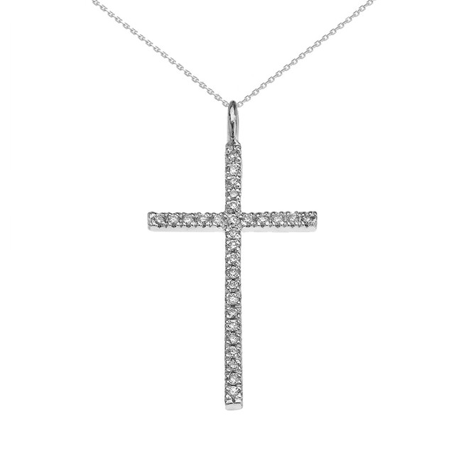White Gold Dainty Diamond Cross Pendant Necklace